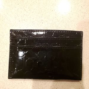 Coach card holder. Black patent leather